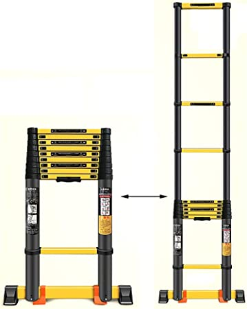 Escalera Telescópica- Retractable Portable Tall - Escaleras De Aluminio Extensible Escalera Telescópica con Barra Estabilizadora para El Hogar Loft Ingeniería, Negro (Size : 5.5m/18ft): Amazon.es: Hogar