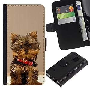 KingStore / Leather Etui en cuir / Samsung Galaxy S5 V SM-G900 / Peludo perro Yorkshire Terrier Small Brown