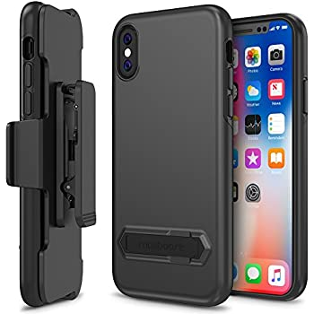 iPhone X Case Holster, Maxboost DuraSlim Pro Apple iPhone X Holster Kickstand + Swivel Belt Clip Holder [Black] Dual Layer Protection / Shock-Absorbing / Smooth Grip iPhoneX / 10 (2017)