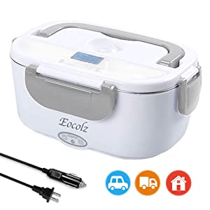Electric Lunch Box, Eocolz 2 in 1 Food Heater Warmer 1.5L with Removable Stainless Steel Container Portable for Car, Office, School and Home Use 110V & 12V 40W, Spoon and 2 Compartments Included