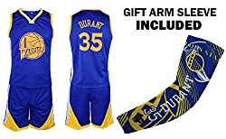 Durant Jersey Kids Basketball Blue Durant Jersey & Shorts Youth Gift Set ? Basketball Compression Shooter Arm Sleeve ? Premium Quality