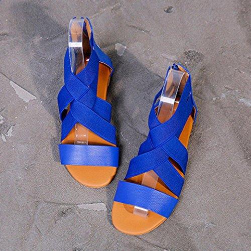 Sandali Incrociata con Cerniera Elastica Blu Spiaggia Romani SmrBeauty Basso Sandali Sandali Tacco Donna,Estivi infradito Elegante da Con Aperte Donna Scarpe Scarpe xOwC8Bzq