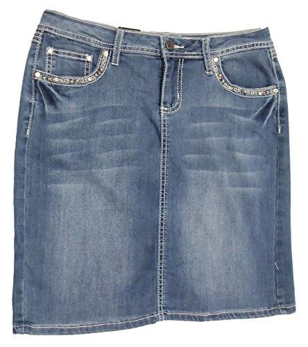 Denim Flap Pocket Skirt - Earl Jean Womens Classic Wash Sparkling Cross Embellished Denim Skirt: (8P)