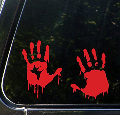 Yadda-Yadda Design Co. RED - Bloody Zombie Hands (Pair - Left and Right Hands) - Car Vinyl Decal Sticker - (12.5
