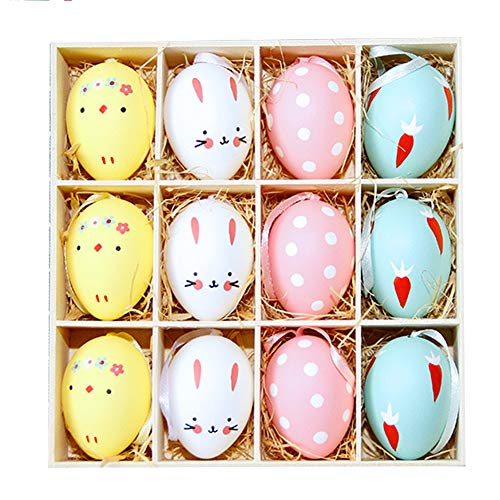 12Pcs Easter Egg Ornaments Home Decorations, Simulation Hanging Rabbit Easter Eggs with Rope Children DIY Painting Toy