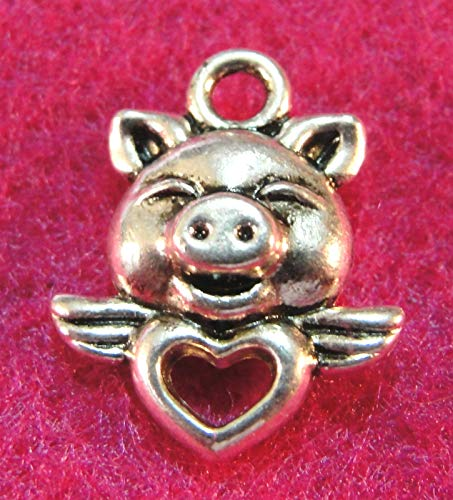 - 10Pcs. Tibetan Silver Cute Piggy Heart Pig Charms Pendants Earring Drops Charms DIY Crafting by WCS