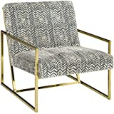 Ashley Furniture Signature Design - Trucker Accent Chair - Mid Century Modern - Blue/Cream - Bronze Legs
