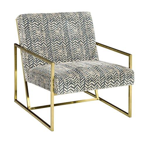 Ashley Furniture Signature Design - Trucker Accent Chair - Mid Century Modern - Blue/Cream - Bronze Legs