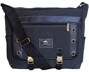 Classic Military Inspired Canvas Messenger Bag Laptop Bookbag Black