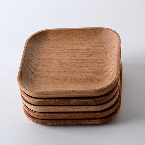 The New 2016 wooden tableware feeder Beech wood plate wood consolidation wooden square plate of 12.8 cm
