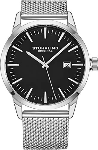 Stuhrling Original Mens Watch Mesh Band - Dress + Casual Design - Analog Watch Dial with Date, 555 Watches for Men Collection (Black)