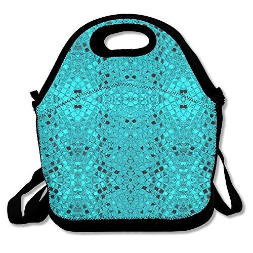 Green Teal Diamonds Lunch Bag Tote Handbag Lunchbox For School Work Outdoor ()
