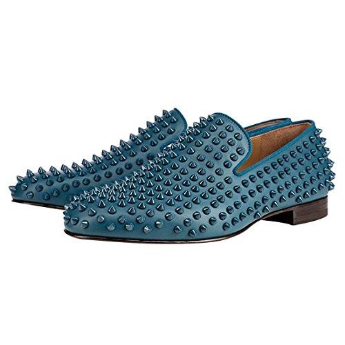 Cuckoo Los Remaches de Los Hombres Se Deslizan EN Los holgazanes de Vestir Negro Zapatos Oxford Azul