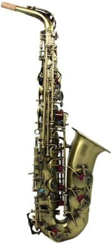 Jinnuotong サックス、アルトサックス、グリーンアンティークサックス、サックスを演奏する初心者に適しています,純粋な音質 (Size : 66cm)