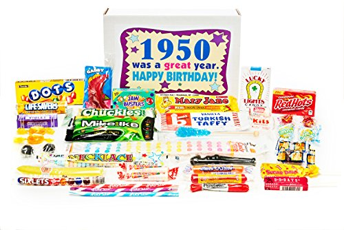 Woodstock Candy ~ 1950 69th Birthday Gift Box Nostalgic Retro Candy Assortment from Childhood for 69 Year Old Man or Woman Born 1950 Jr (Dates Woodstock)