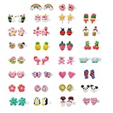 minihope Hypoallergenic Plastic Post Earrings for Girls, Cute Multiple Animal Unicorn Donut Stud Earrings for Little Girls Kids, Made with Polymer Clay,Hand Made Jewelry (30 Pairs): more info