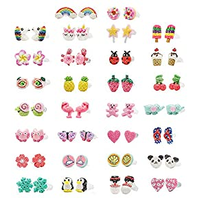 Minihope Hypoallergenic Plastic Post Earrings for Girls, Cute Multiple Animal Unicorn Donut Stud Earrings for Little Girls Kids, Made with Polymer Clay, Best gifts for girls.
