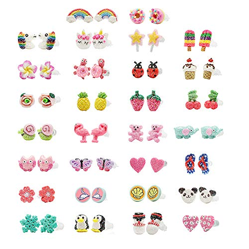 minihope Hypoallergenic Plastic Post Earrings for Girls, Cute Multiple Animal Unicorn Donut Stud Earrings for Little Girls Kids, Made with Polymer Clay,Hand Made Jewelry (30 Pairs)