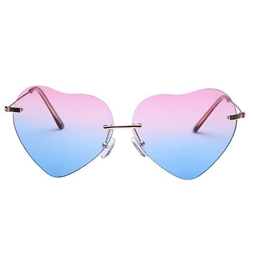9d64ffdd5c Mily Women s Light Rimless Heart Shaped Sunglasses Gradient Lens Eyewear( pink blue)