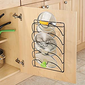 mDesign Metal Wire Pot and Pan Lid Rack Organizer for Kitchen Cabinet Doors or Wall Mount - Upright Storage Holder with 5 Slots - Bronze