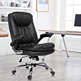 YAMASORO Ergonomic Home Office Chair with Flip-Up Arms and Comfy Headrest PU Leather