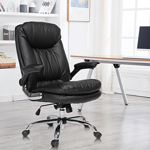 YAMASORO Ergonomic Home Office Chair with Flip-Up Arms and Comfy Headrest PU Leather High-Back Computer Desk Chair Big and Tall Capacity 330lbs Black