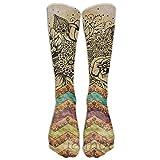 Boho Chic Bohemian Art Boho Poster Athletic Tube Stockings Women's Men's Classics Knee High Socks Sport Long Sock One Size