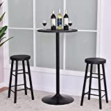MD Group Bar Table Set Black Round Table Corrosion Rust Resistant w/ 2 Stools Bistro Pub