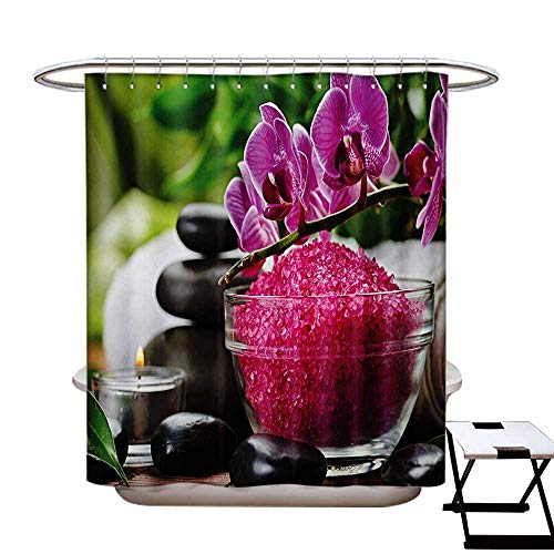 (Spa Shower Curtains Sets Bathroom Black Zen Stone Triplets with Asian Originated Orchids and Fuchsia Salt Satin Fabric Sets Bathroom W69 x L70 Fuchsia Black and)