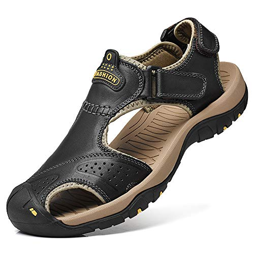 (Athletic Slides Sandals Sports Men Breathable Leather Outdoor Leisure Non-Slip Beach Shoes Slippers Hiking Fisherman Black(12 M US,29 cm Heel to Toe)