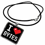 3dRose Dooni Designs Geek Designs - Geeky Old School Pixelated Pixels 8-Bit I Heart I Love Bytes - Necklace With Rectangle Pendant (ncl_118866_1)