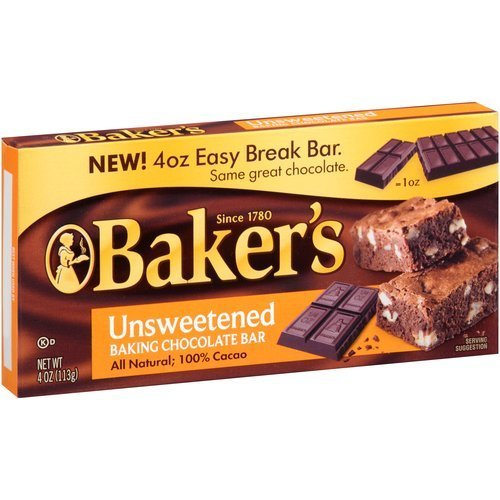 Fudge Unsweetened Chocolate (Baker's Unsweetened Baking Chocolate Bar, 4 Oz (Pack of 3) KOSHER OKd)