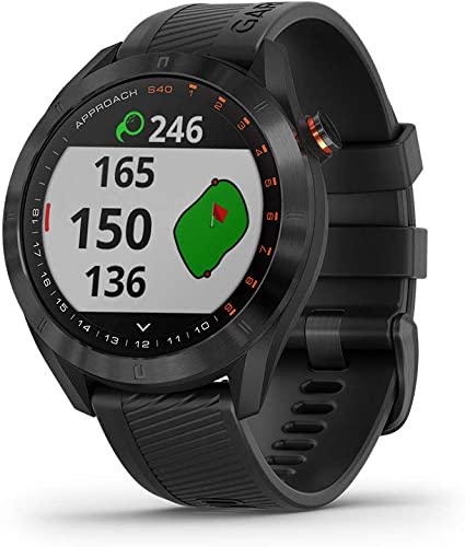 Garmin Approach S40, Stylish GPS Golf Smartwatch, Lightweight with Touchscreen Display, Black
