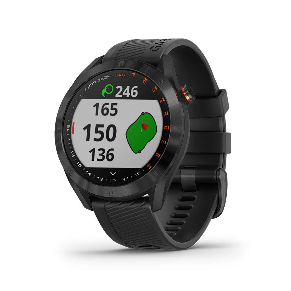Garmin Approach S40, Stylish GPS Golf Smartwatch, Lightweight with Touchscreen Display, Black by Garmin