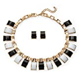 Best Palm Beach Jewelry Statement Necklaces - Black and White Simulated Crystal Yellow Gold Tone Review