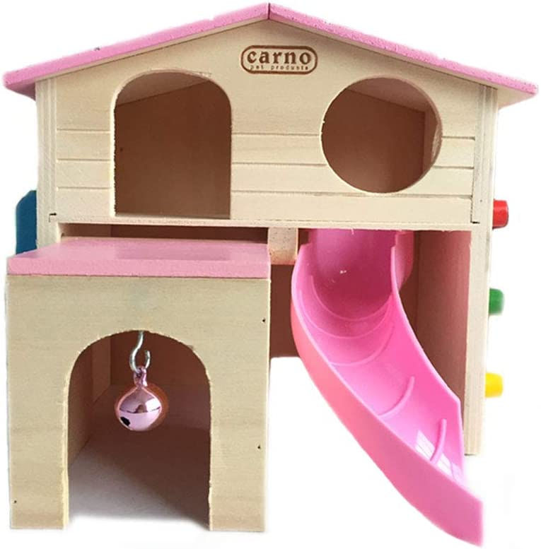 kathson Pet Small Animal Hideout Hamster House with Funny Climbing Ladder Slide Wooden Hut Play Toys Chews for Small Animals Like Dwarf Hamster and Mouse