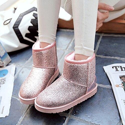 Y-Hui stivali inverno una breve Sequined stivali scarpe scarpe ispessimento di slittamento studenti,39 codici minori,grigio