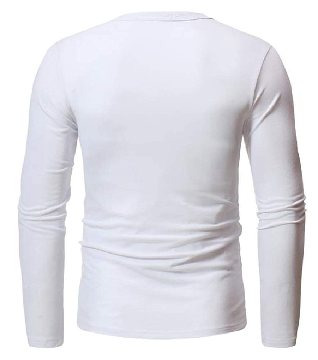 RingBong Mens Spring//Autumn O-Neck Long Sleeve Solid Color Pullover Tees