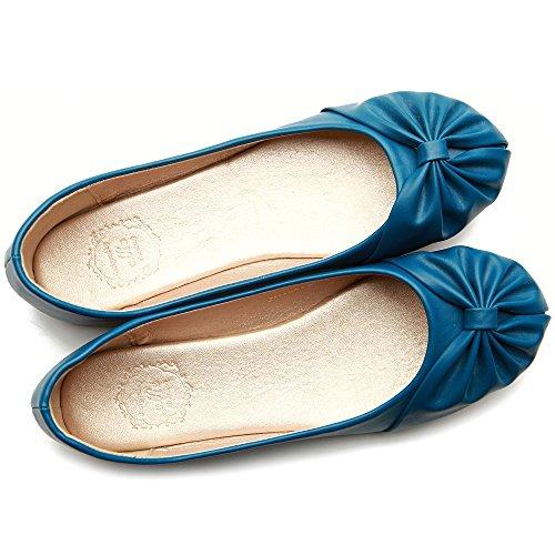 Ollio Women's Down Ribbon Comfy Shoe Flat Blue Ballet Cute 7Afr7vBp