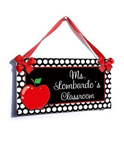 Teacher Personalized Gift, White Polka Dots with a Red Apple