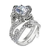 Womens rings,Lamolory Vintage Beautiful White Diamond Silver Engagement Wedding Band Ring (9#)