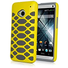HTC One (M7 2013) Case, BoxWave® [HybridCell Case] Non Slip Hard Shell Cover w/ Cushion Grips for HTC One (M7 2013) - Yellow/Grey