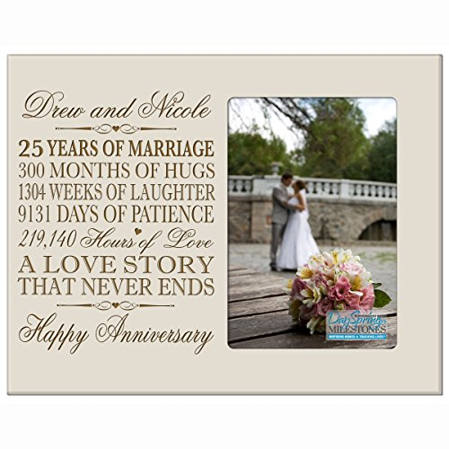 Personalized twenty fifth year anniversary gift her him couple Engraved 25th year wedding celebration for husband wife girlfriend boyfriend frame holds 4x6 photo by DaySpring International (Ivory)