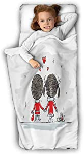Love Child Nap Mat Couple Holding Hands Winter Stars and Valentines Hearts Christmas Cartoon Great for Boys and Girls Scarlet Cocoa Silver 50X20 INCH