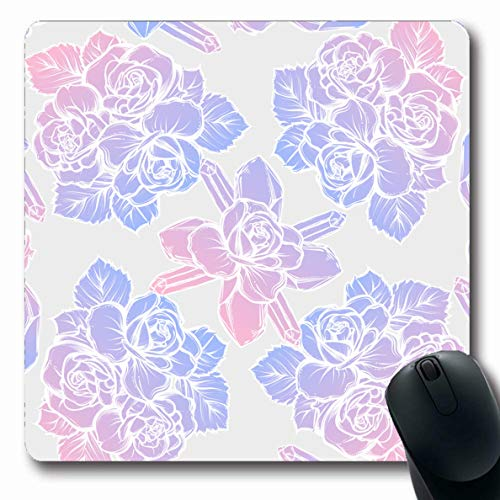 (LifeCO Mouse Pad Mineral Purple Alchemy Mysticism Crystals Bouquet Roseslight Nature Garden Abstract Pink Amethyst Oblong Shape 7.9 x 9.5 Inches Mousepad for Notebook Computer Mat Non-Slip Rubber)