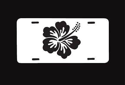 Amazoncom Custom License Plate White Hawaiin Hibiscus Black