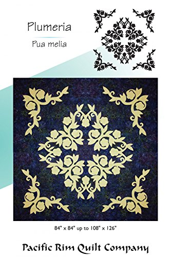- Hawaiian Plumeria Flower Floral Applique Double Full Pacific Rim Quilt Pattern