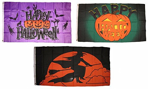 ALBATROS 3 ft x 5 ft Happy Halloween 3 Pack Flag Set #115 Combo Banner Grommets for Home and Parades, Official Party, All Weather Indoors Outdoors