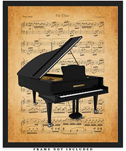 Vintage Piano Sheet Music Wall Art Print: Unique Room Decor for Boys, Men, Girls & Women - (8x10) Unframed Picture - Great Gift Idea for Piano Players & Music Lovers!