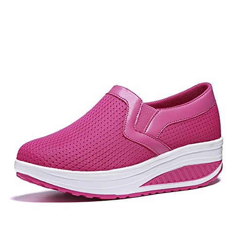 L LOUBIT Women Wedge Shoes Breathable Mesh Sneakers Slip On Comfort Walking Shoes 1608 Red 41
